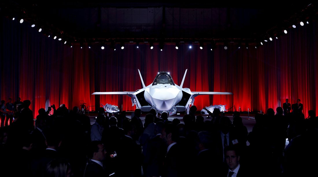 An F-35 fighter jet on display at a ceremony at Lockheed Martin's offices in Fort Worth. Like Lockheed itself, the division that makes the F-35 is headed by a female executive. Atilgan Ozdil — Anadolu Agency/Getty Images