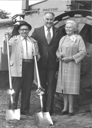 Pictured (l-r) are Al Helwig, Congressman Don Clausen and Martha Helwig at the groundbreaking for Palm Drive Hospital in 1974.