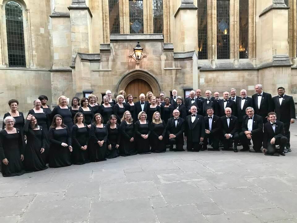 The City Choir of Washington Tour Choir outside of Temple Church, London.