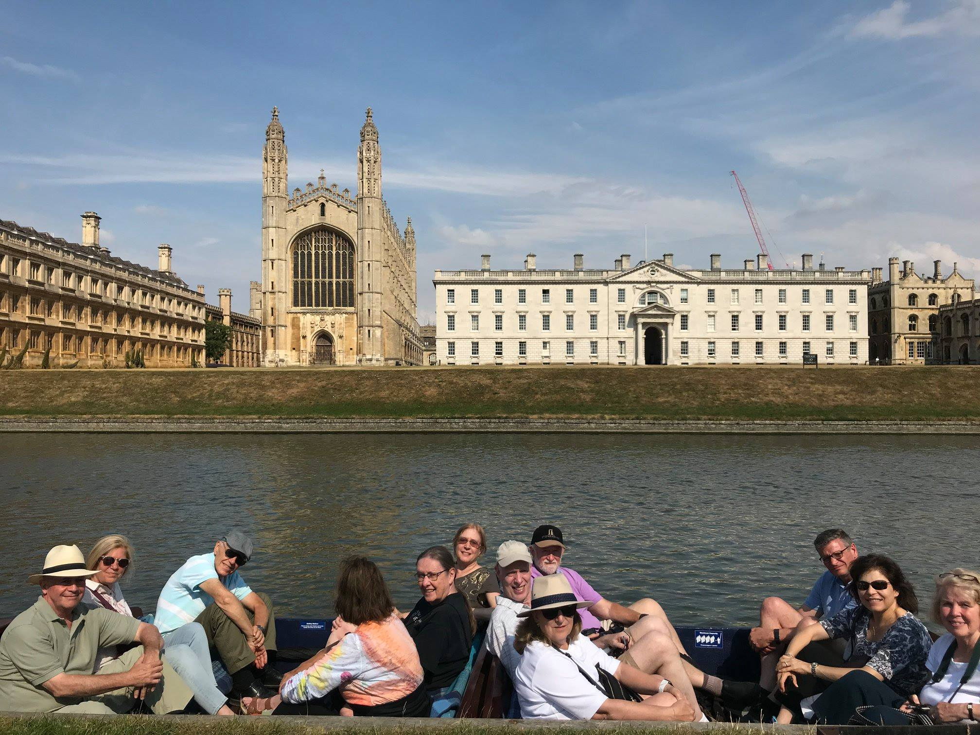 Choir members punting on the River Cam