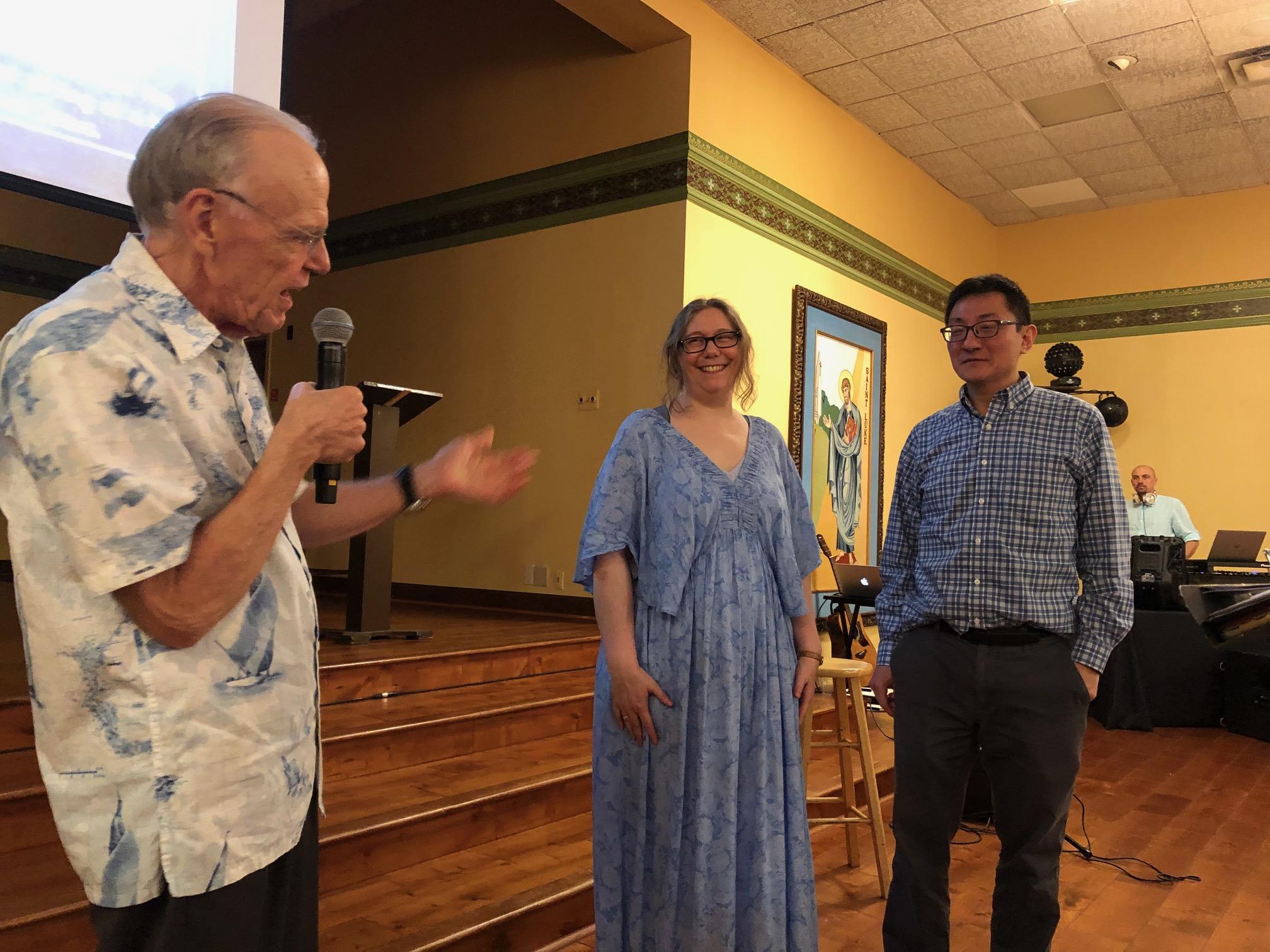 Maestro Shafer congratulates the highest ticket sellers. Not pictured: alto Maggie Sullivan