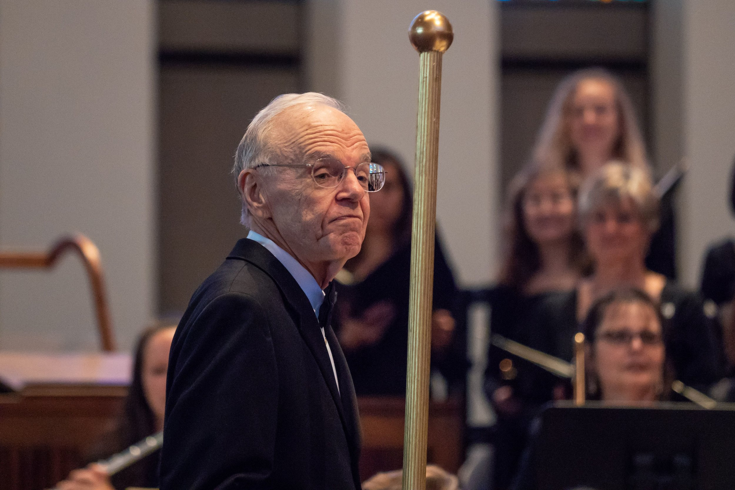April 2018, Maestro Shafer keeps time with a baroque baton