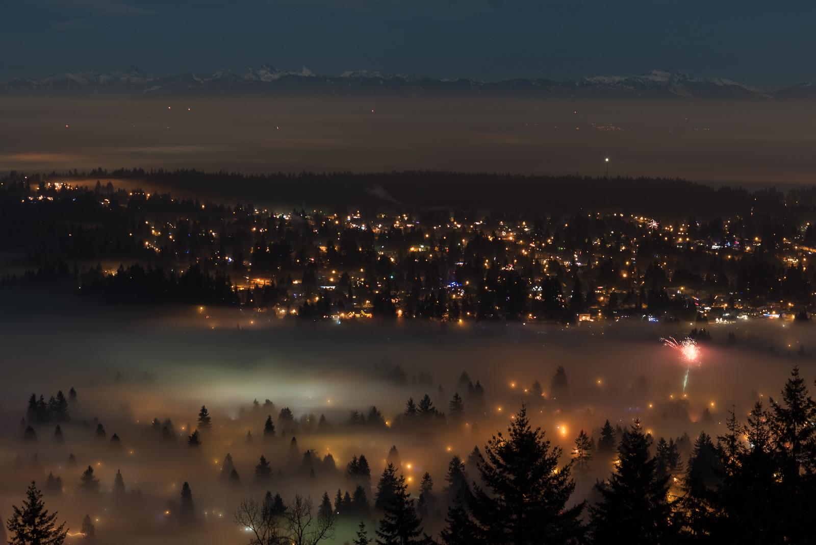 Fireworks over Coquitlam, BC, for New Years Eve 2018. Photo: Kristine Nyborg