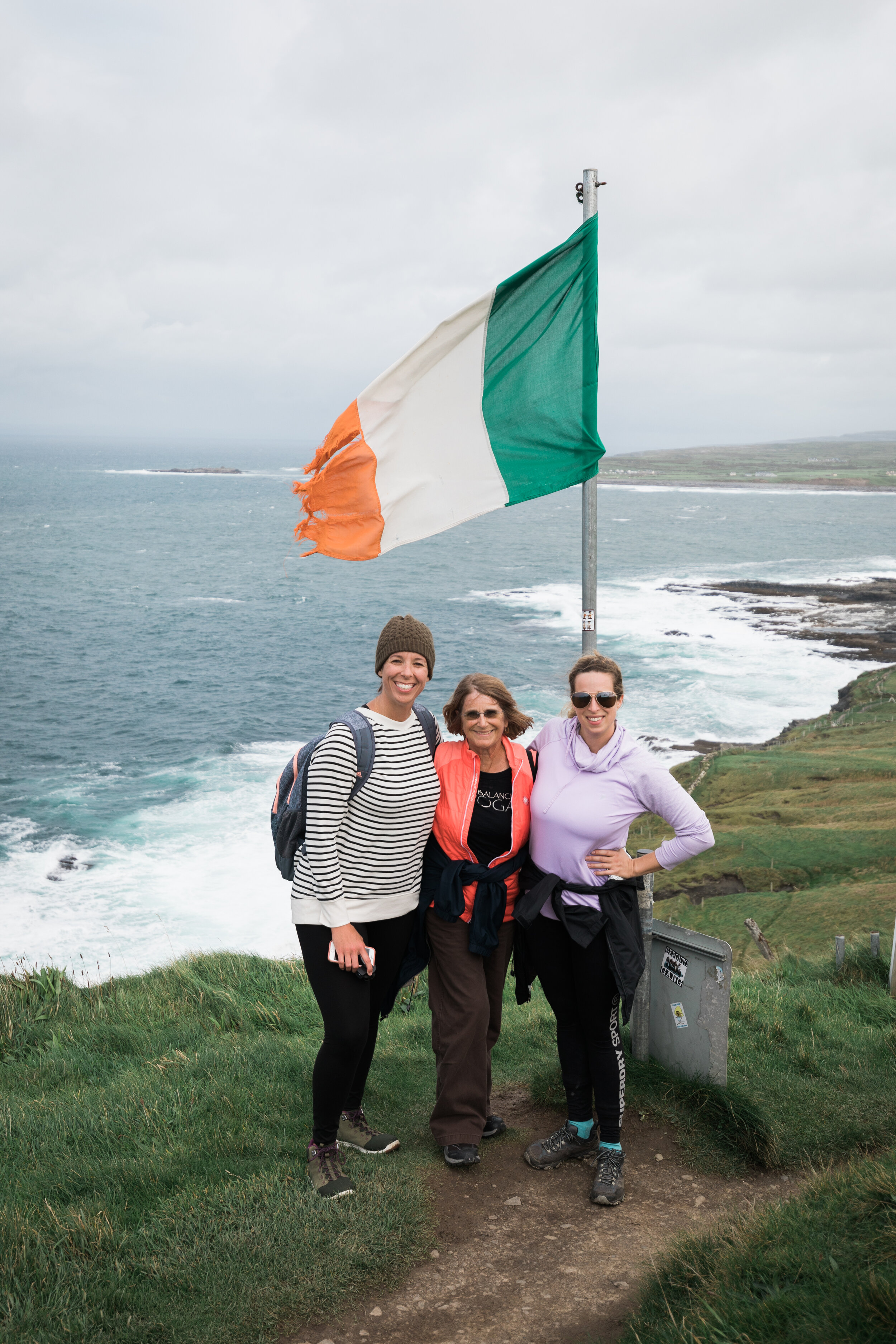 Hiking the Cliffs of Moher with retreat guests in Ireland, 2018