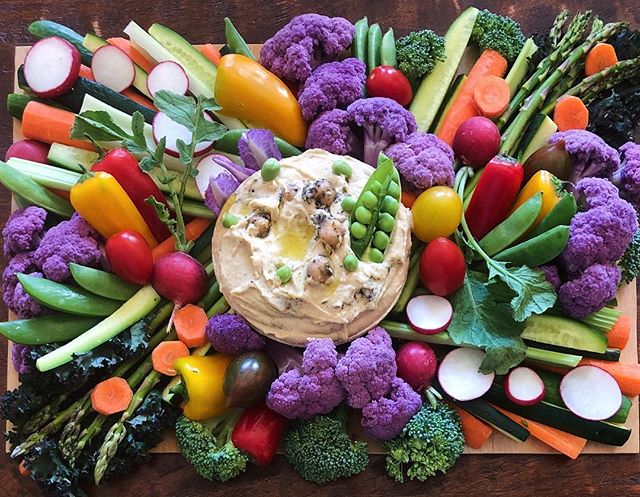 """Everybody needs beauty as well as bread, places to play in and pray in, where nature may heal and give strength to body and soul."" - John Muir #mondaymotivation . . . . . #eatyourcolors #purplecauliflower #denver #healthylifestyle #vegan #alltheveggies #openhouse #partyfood  #hummus #frontrangefoods #healthyfood"