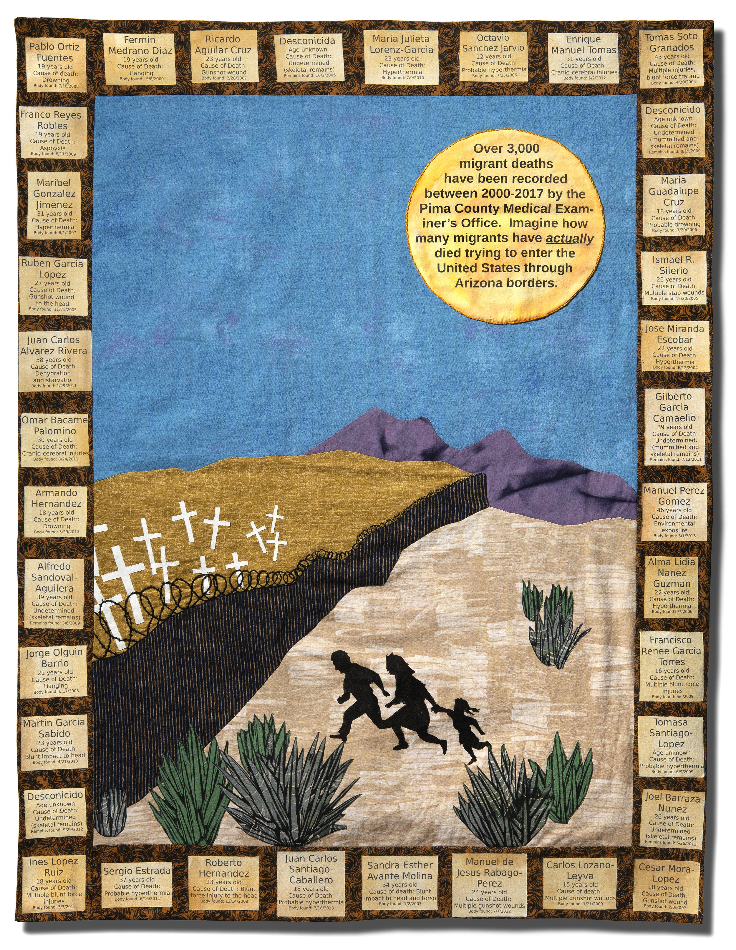 Photo Courtesy: Wilson Graham   Migrant Memorial  is an extension of the work Jennifer Eschedor has done for the Migrant Quilt Project. This organization has created quilts to record migrant deaths since 2000.  Title: Migrant Memorial  Medium: cotton fabric, ink and embroidery floss  Dimensions: 27 x 35  Year of Creation: 2018  Price $850  For sales inquiries, please contact the artist directly at  www.migrantquiltproject.org