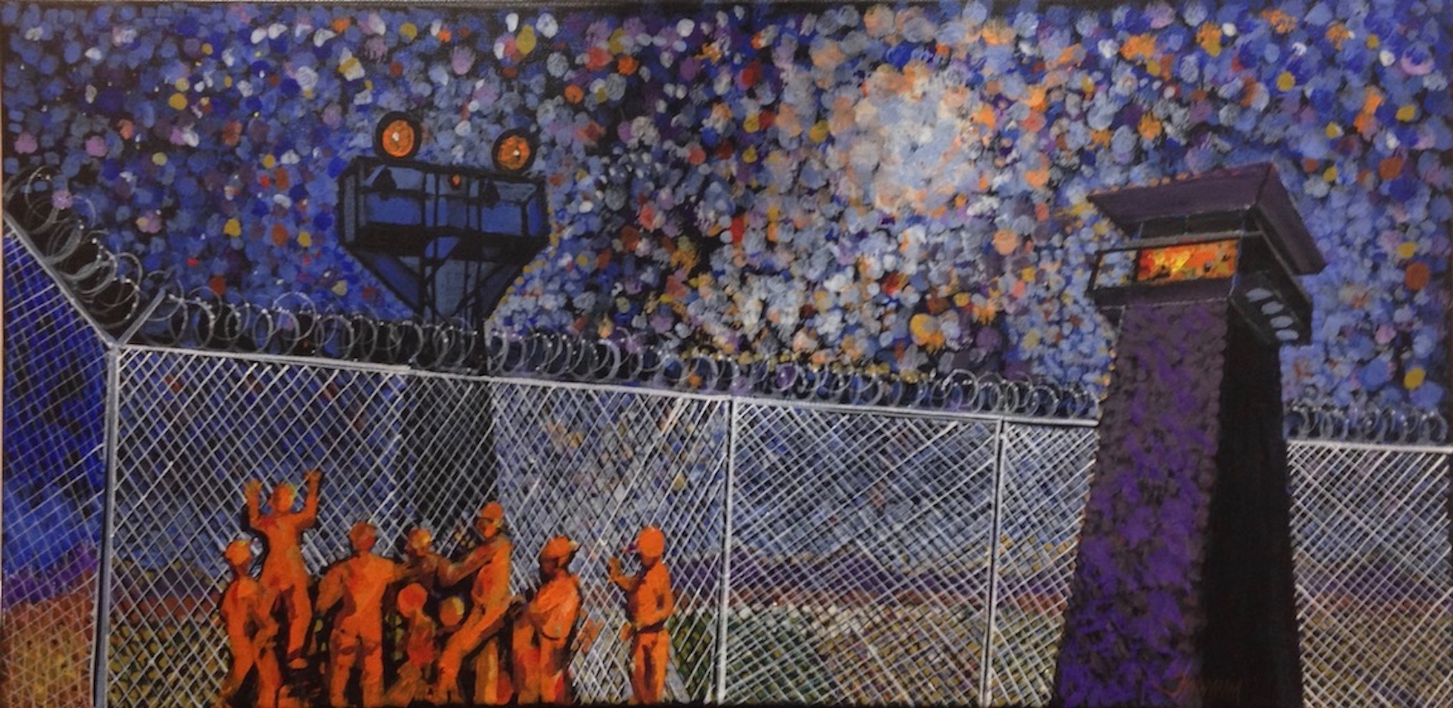 "This painting concerns the privatization of our prison system and its inherent corruption. In Thamm's view, there are many on the inside that shouldn't be there and many on the outside who should be inside.  Title: Inside Looking Out  size: 12"" x 24""  Medium: Oil  Year of creation: 2015  Price $1,500  For sales inquiries, please contact the artist directly at  www.jfthammgallery.com"