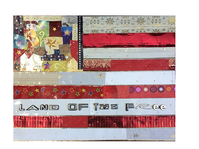 """""""Land of the Free"""" is an unorthodox take on flag imagery while stressing individual expression. It is literally a collage of the fabric that makes us Americans.  Title: Land of the Free  Medium: Mixed Media, Repurposed Tin on Wood  Size: 18 x 24  Year of Creation: 2018  Price $650  For sales inquiries, please contact dlutzick@yahoo.com with Winslow Arts Trust Museum"""