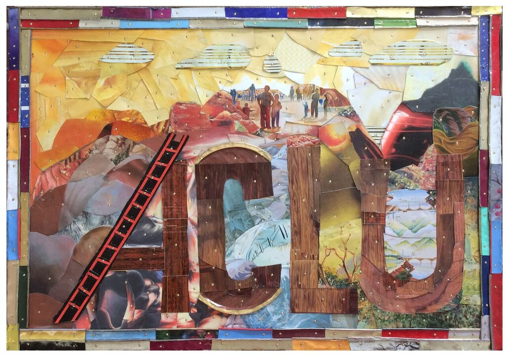 """""""ACLU View"""" is a ladder to guide all individuals to a higher place where they can truly see their potential.  Title: ACLU View  Medium: Mixed Media, Repurposed Tin on Wood  Size: 18 x 24  Year of Creation: 2018  This piece has been sold.  For sales inquiries, please contact dlutzick@yahoo.com with Winslow Arts Trust Museum"""