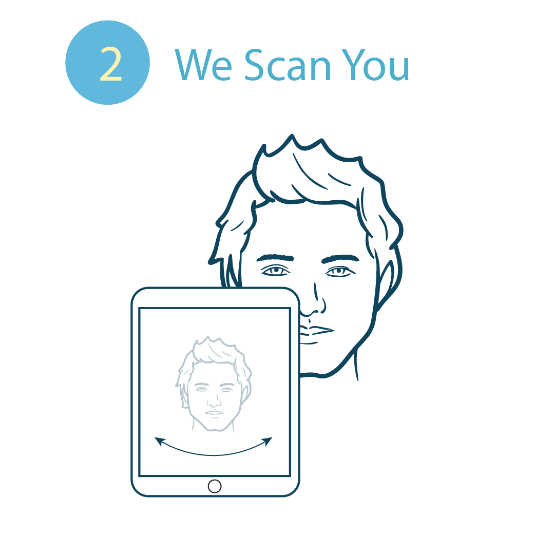 An eye care professional 3D scans your face to ensure the frame fit your exact head shape. Wide, narrow, long, doesn't matter, we got your back. Well… your head!