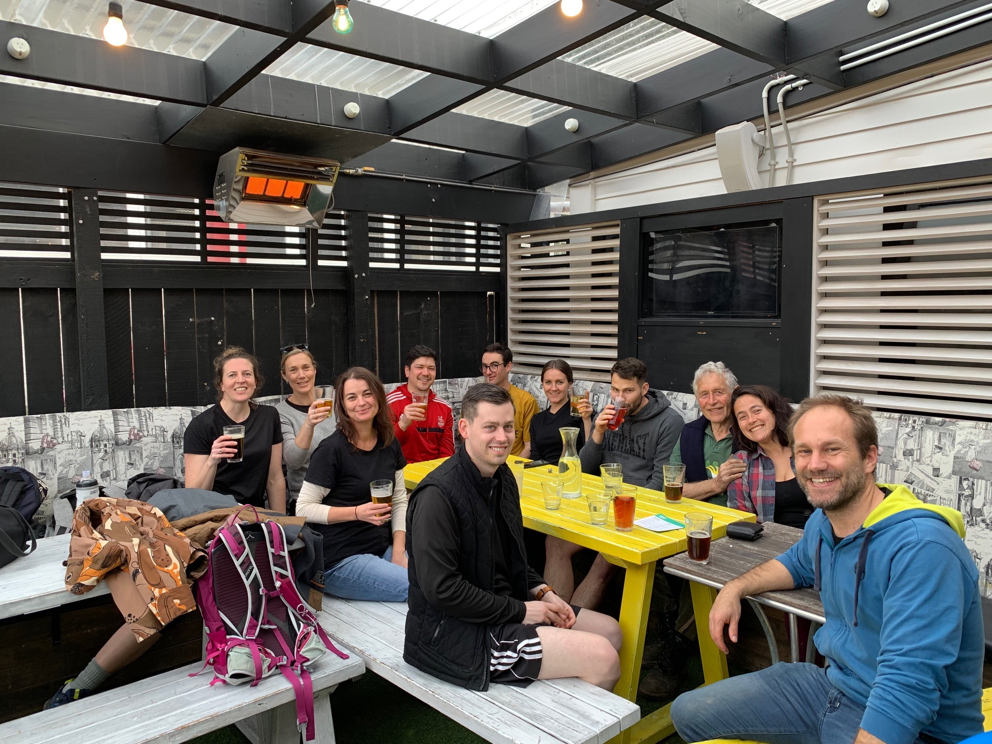 Do the mahi get the treats! A beer at the Island Bay pub with colleagues after a day planting.