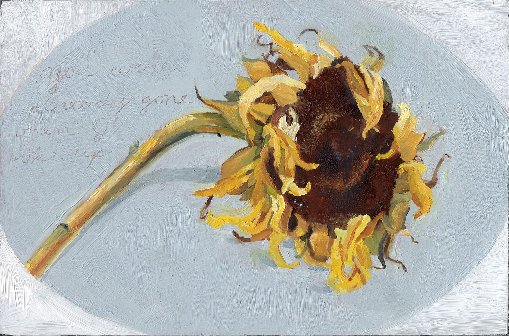 Sunflower Ex-Voto #2, oil on aluminum. 4 x 6""
