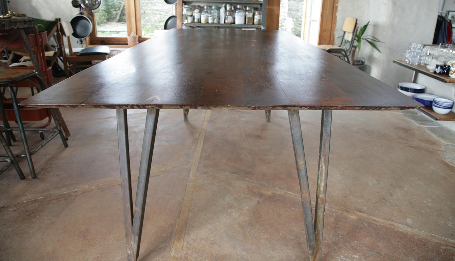Dining Table: Salvaged Teak / Steel / Iron Oxide Concrete