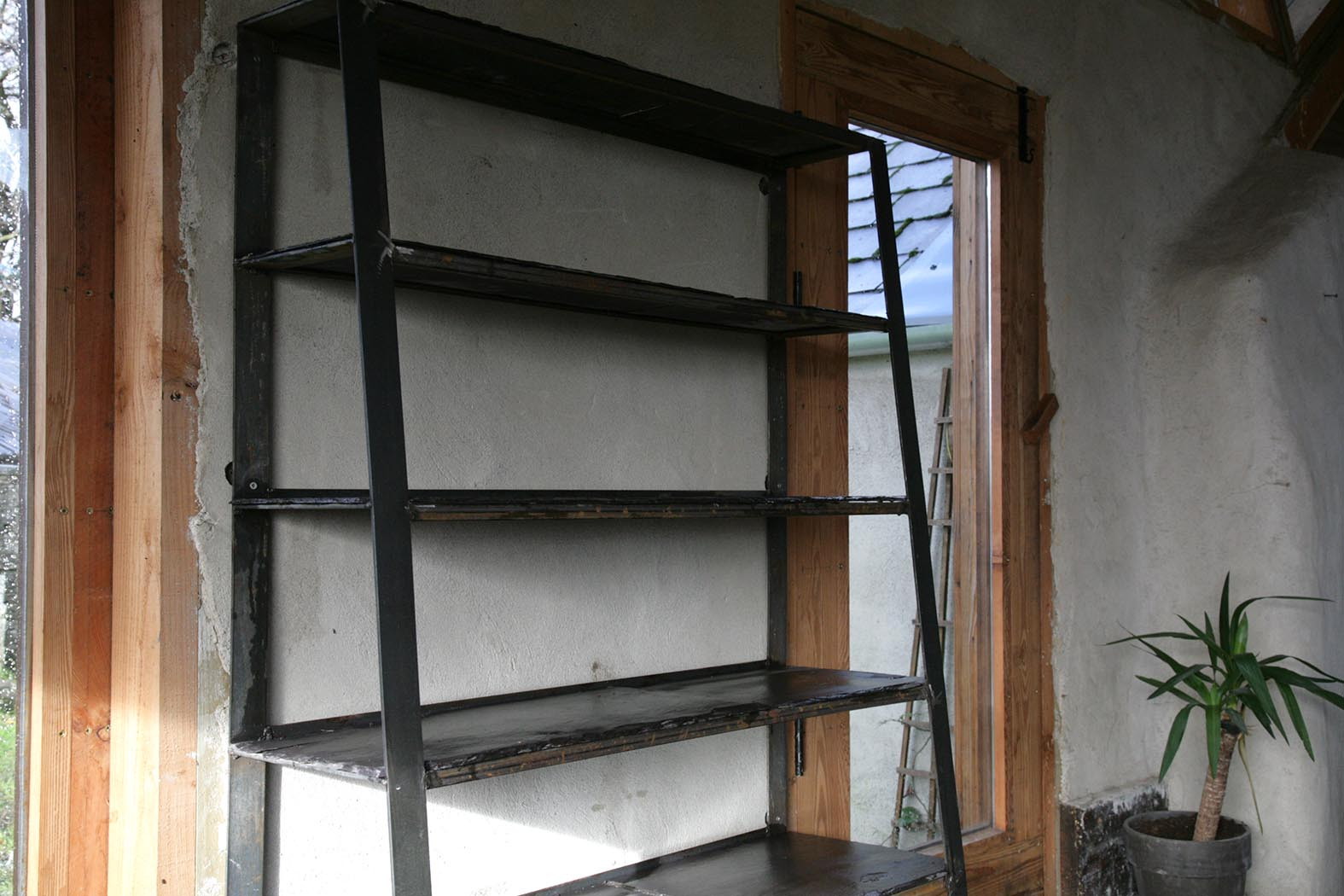 Angled Shelf: Slate / Steel