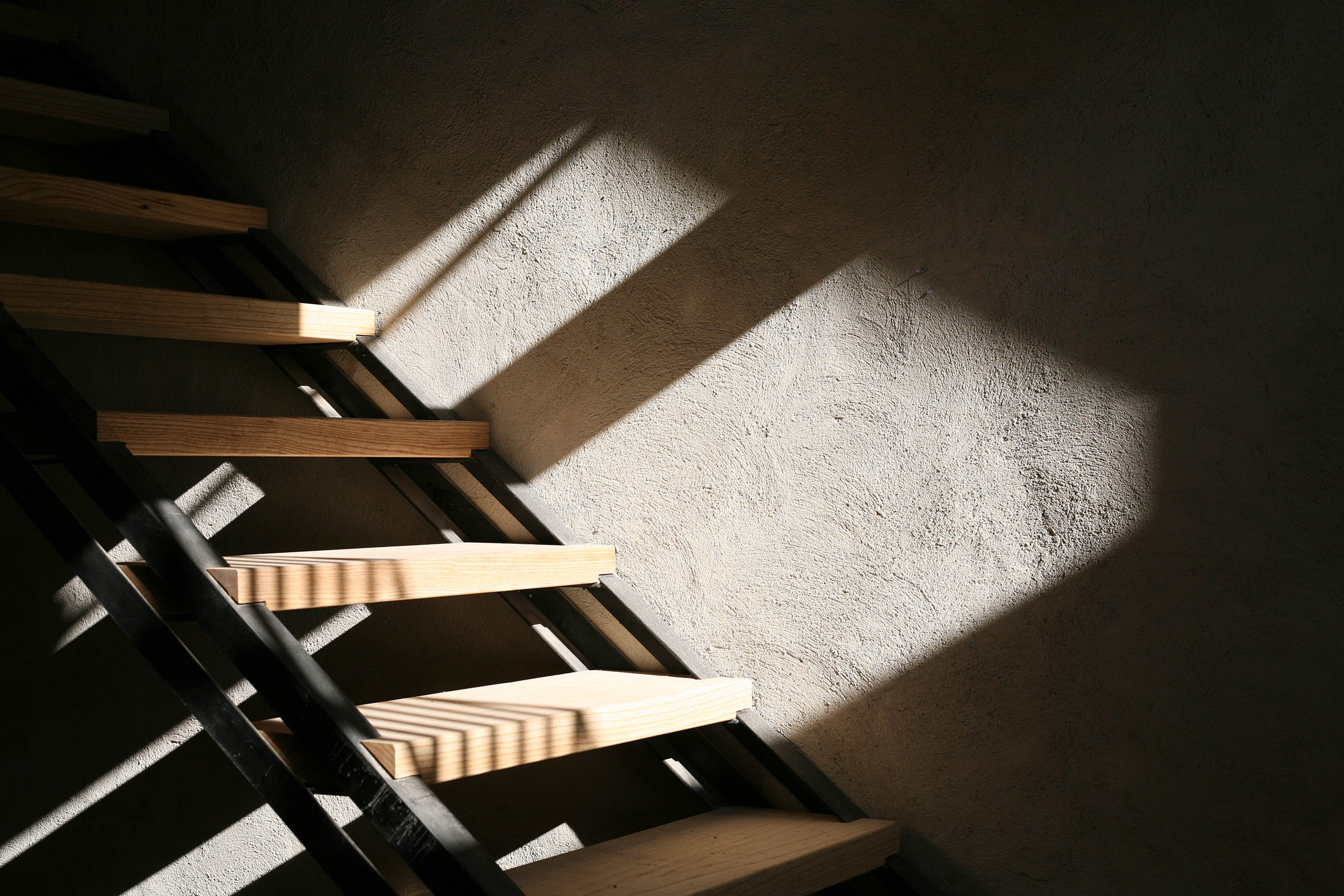 Floating Staircase: Steel / Oak