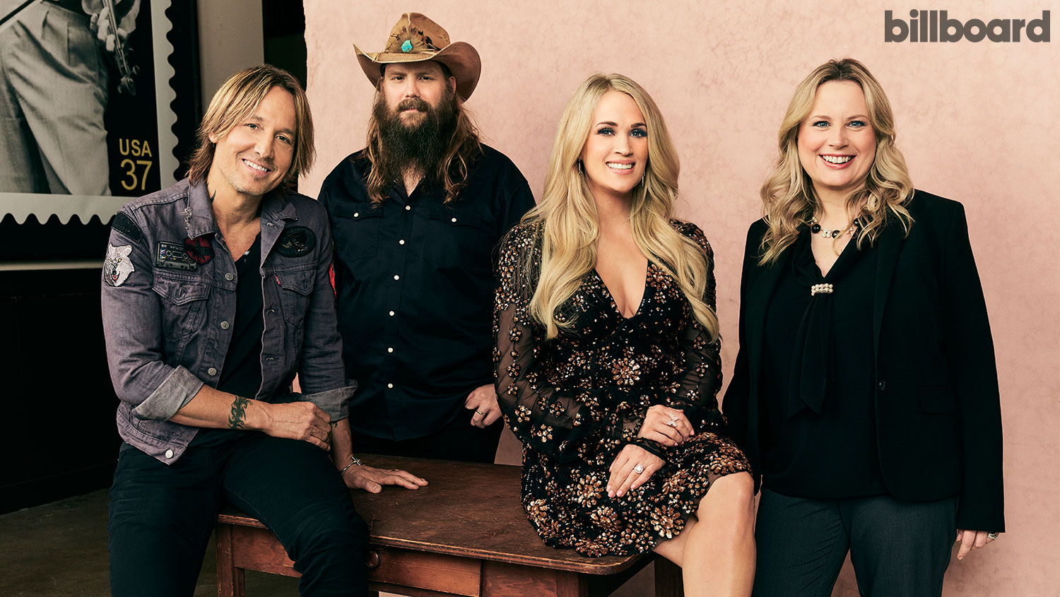 From left: Keith Urban, Chris Stapleton, Carrie Underwood and Cindy Mabe photographed on April 16, 2019 at the Grand Ole Opry in Nashville.  Robby Klein