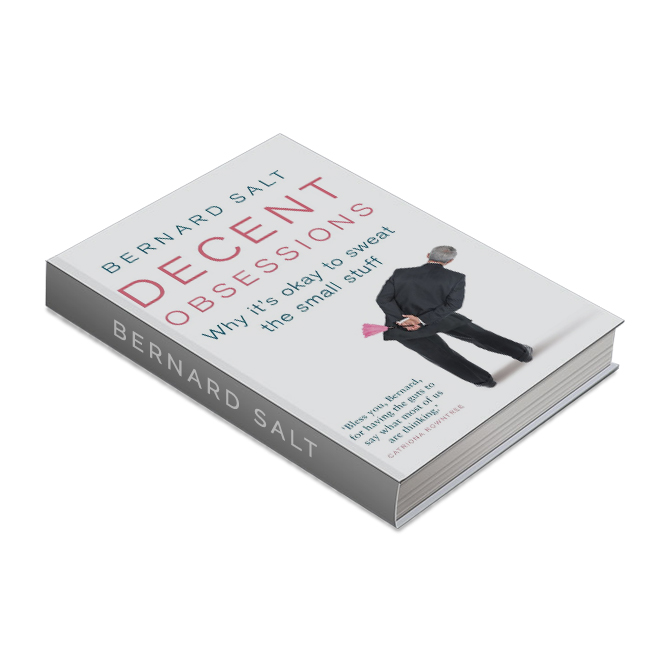 "DECENT OBSESSIONS - What is the etiquette of greeting your boss (of a different gender) in a social situation? Should you shake hands as you might in the office or should you air-kiss and if you air-kiss should it be a single peck on the cheek? Have you ever left a social function thinking ""am I the only normal person in the world? Are you an 'exciting' or are you a 'boring' or maybe you're an 'earlyist'?Published Jul 2013ISBN: 9780522862737"