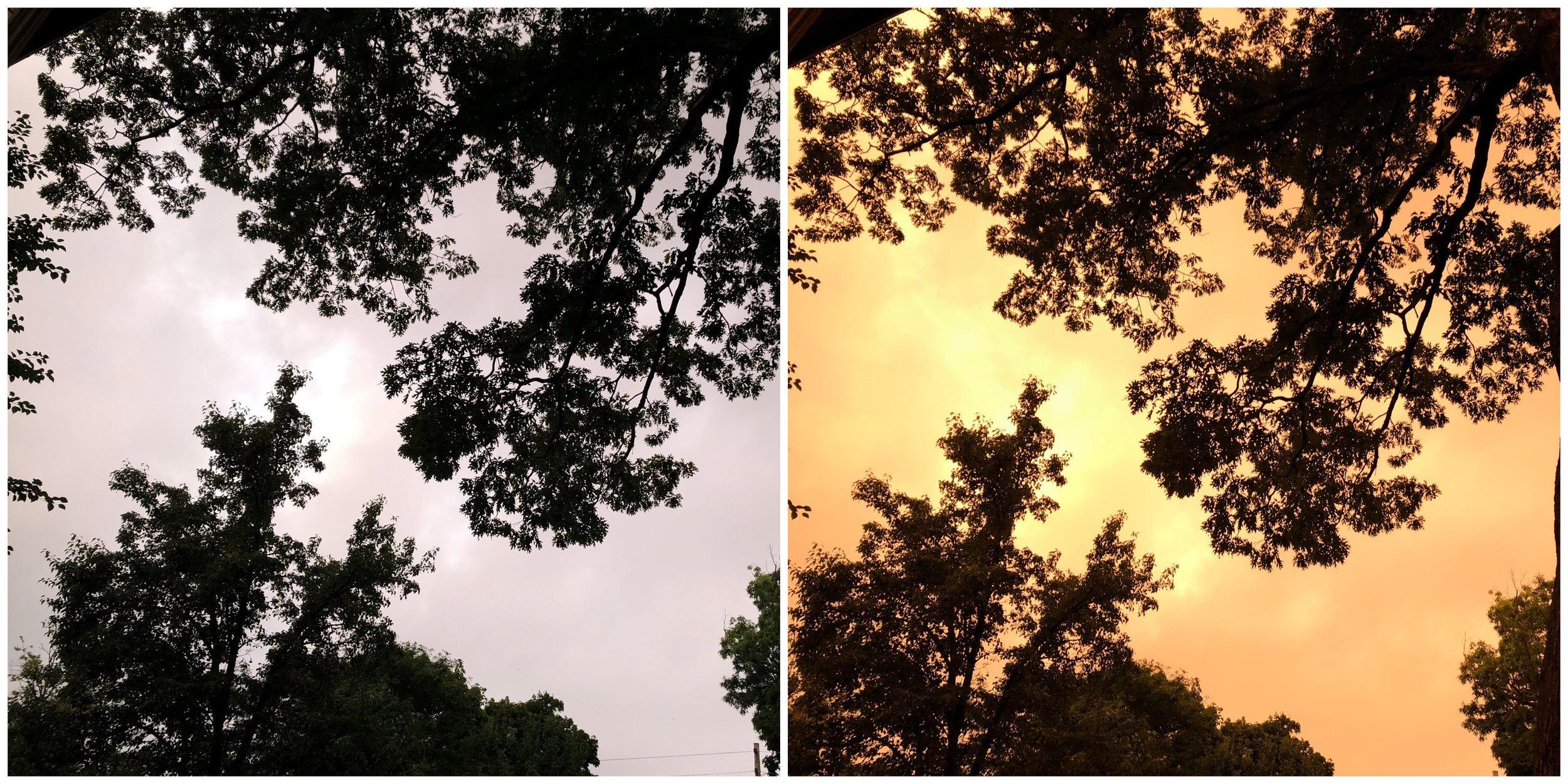 The camera's auto white balance (left) compared to what the sky looked like with adjusted white balance (right).
