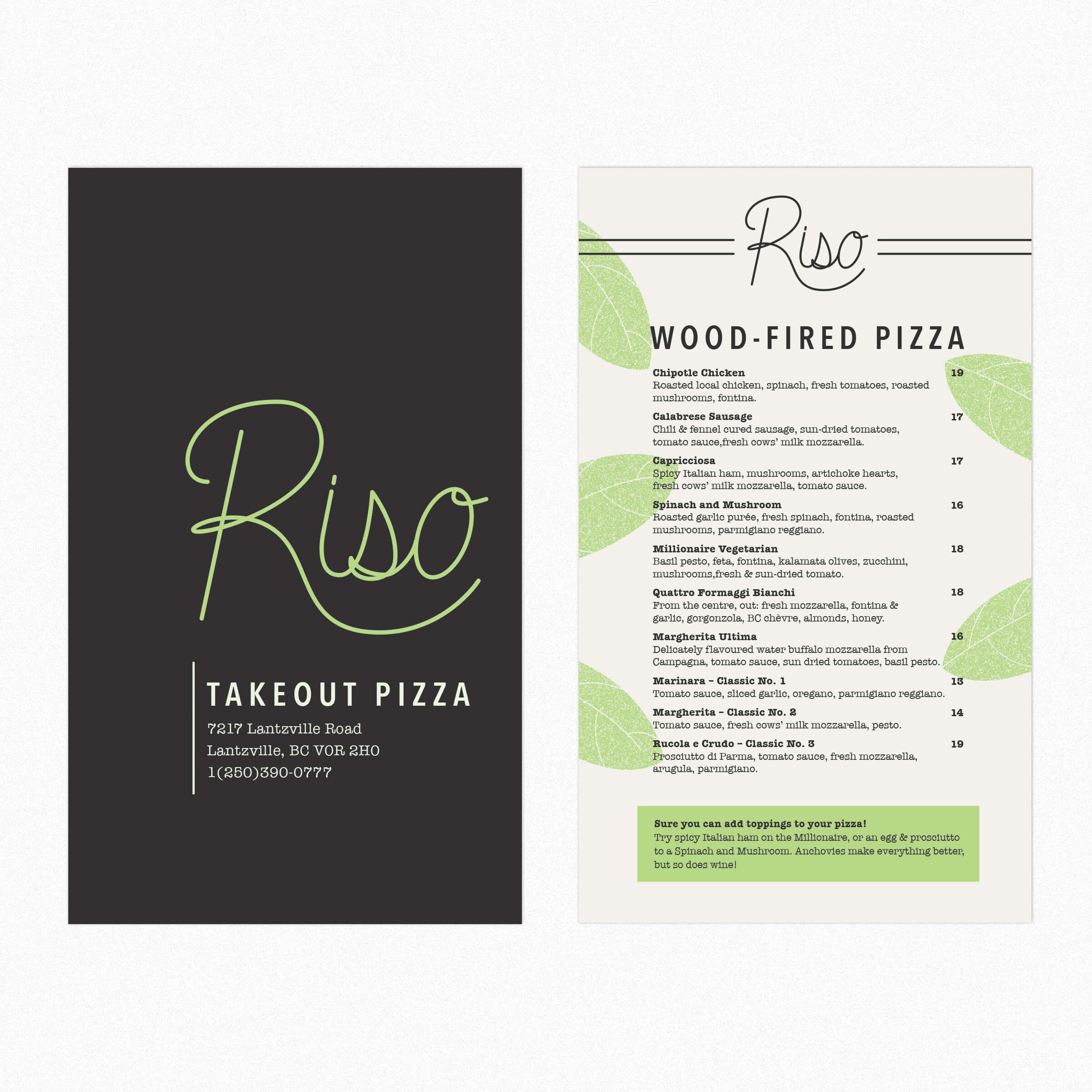 Riso Foods Inc. Pizza Takeout Menu