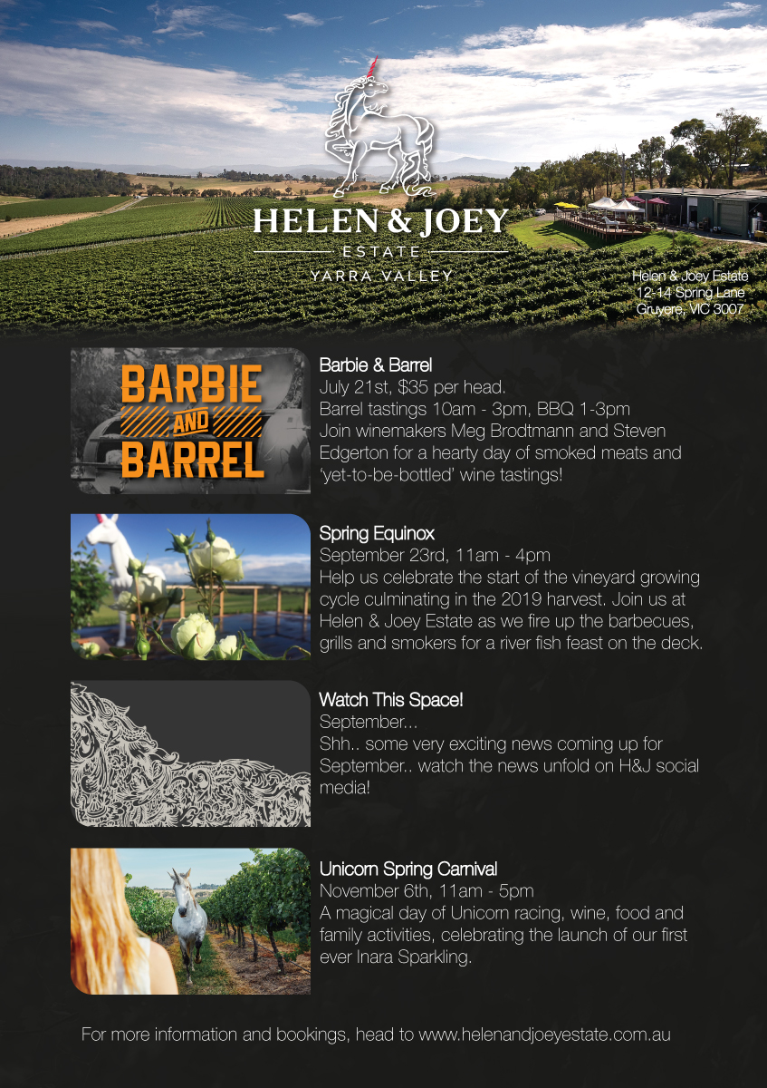 Helen & Joey Estate is a boutique winery hidden away in Gruyere, VIC. Runaway Graphics was approached to help enhance their digital content marketing and mailing list templates. Over the course of a few weeks Runaway Graphics set up templates with existing branding to help take Helen & Joey's refined presence to the next level.
