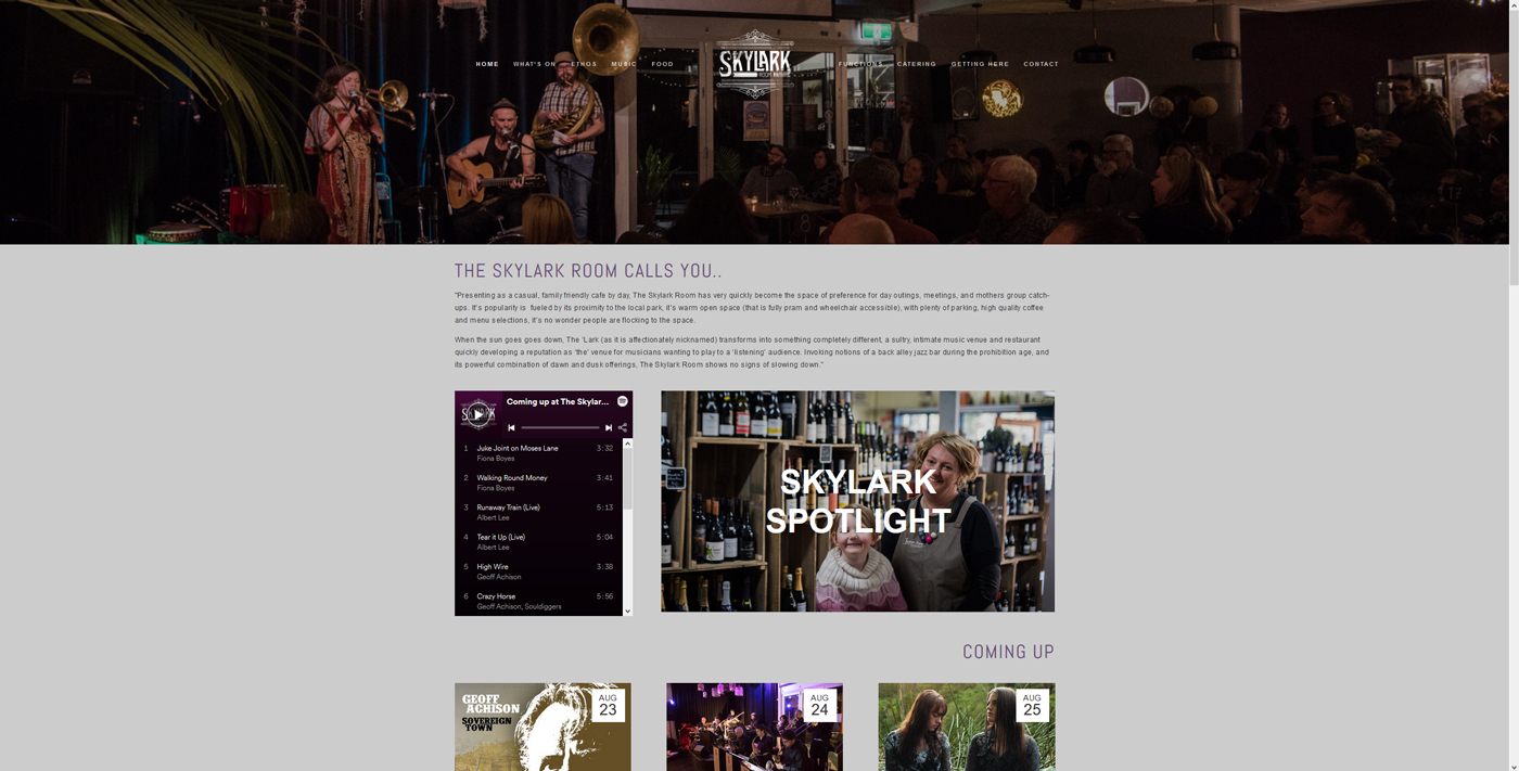 The Skylark Room is a dedicated 'dinner and show' venue based in Upwey, VIC. The Skylark Room initially approached Runaway Graphics to help establish their business identity, requesting logo design, signage, promotional flyers, social media presence and website.  In the following months Runaway Graphics took on the responsibility of The Skylark Room's marketing, producing event posters for performing bands, updated gig guides (monthly print versions, and weekly digital versions), website content, interviews and weekly email content as well as venue menus and other print material.  The Skylark Room's website is viewable    here .
