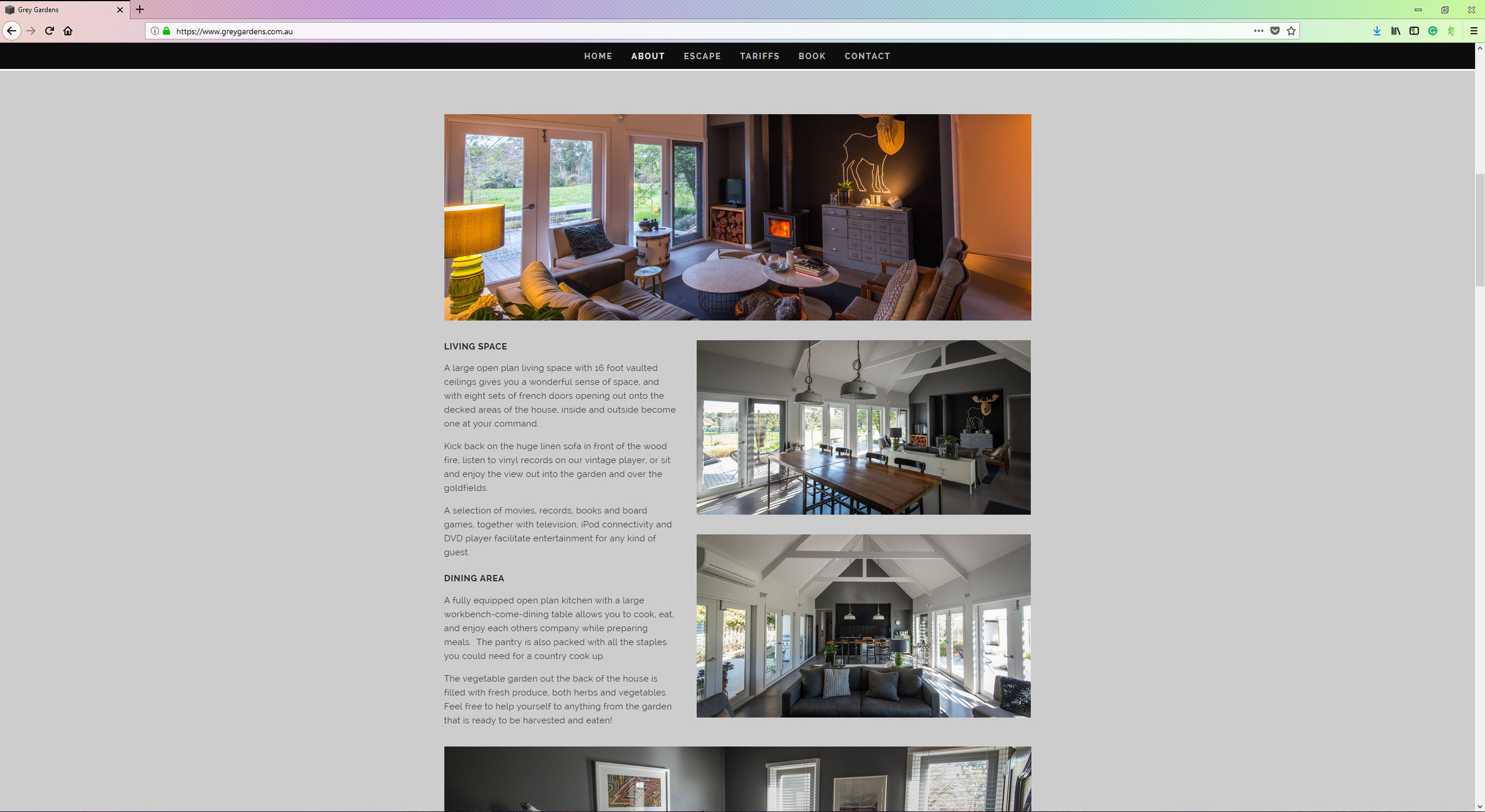 Grey Gardens is a stunning getaway property available to those seeking some inner-city style in a peaceful country setting. Runaway Graphics was approached to produce a website for Grey Gardens to help market it against upcoming competitors in the region. This also involved a full day photo-shoot of the property to help the design and style apparent in every nook and cranny of this property to be seen in full light. The website, and full catalogue of images are viewable   here  .