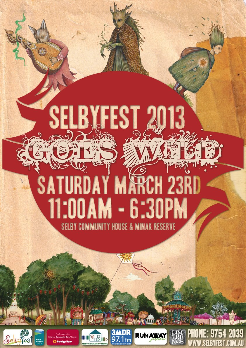 Annual 'Hills' festival Selbyfest asked Runaway Graphics to help promote their community event. In collaboration with artist Nadia Turner, Runaway Graphics produced print and digital poster designs for the festival from 2011 through to 2015.