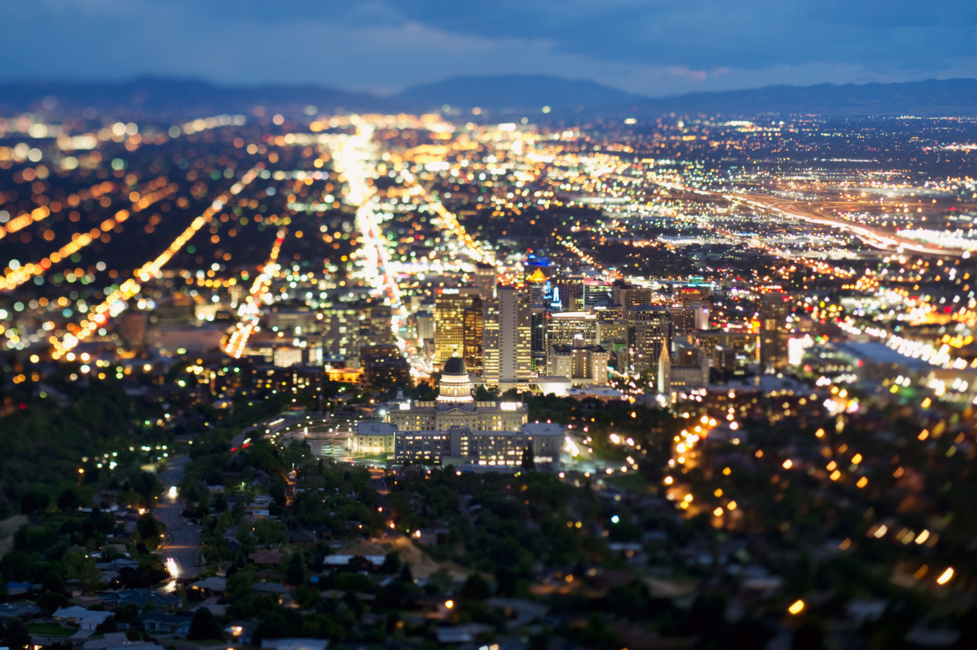 Downtown SLC on a summer night