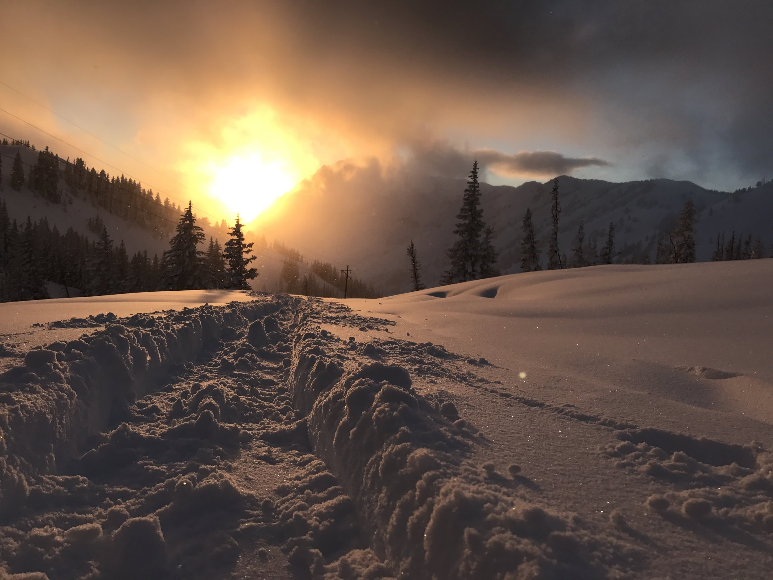 Sunset from the Wasatch Mountains in winter
