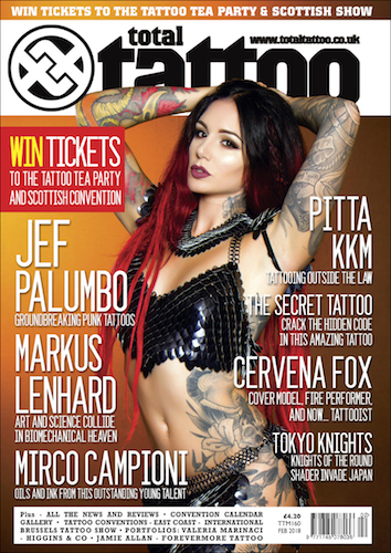 Cervena Fox in It Is Known on the cover of Total Tattoo #160