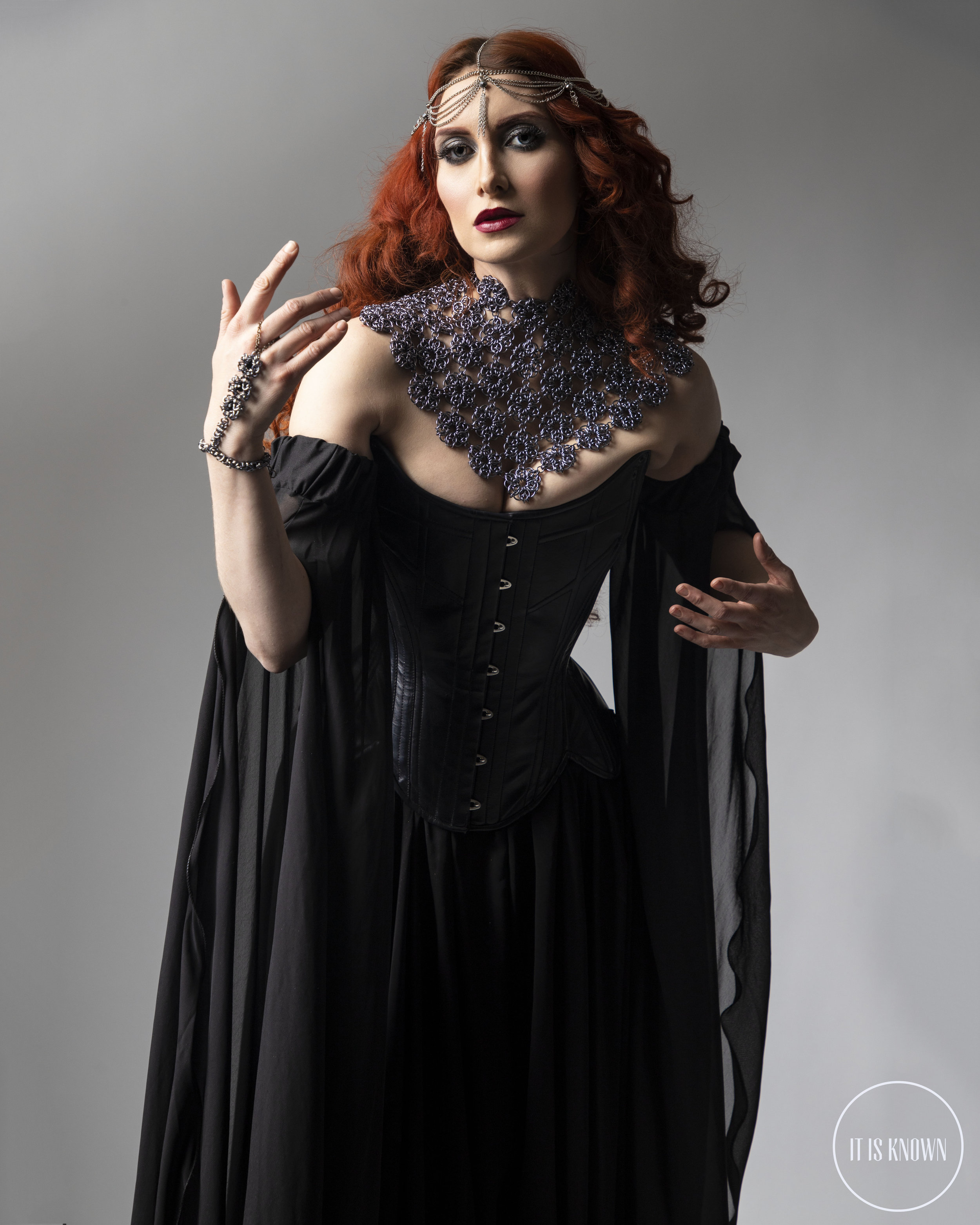 Scalemaille, Chainmaille, Styling, Creative Direction: It Is Known  Corsetry: Starkers http://www.starkers.com/  Staff: Crystal Habitats https://crystalhabitats.bigcartel.com/  Model: Cat Ross https://www.modelmayhem.com/4026061  Photography: Paul Tirado (http://www.paultiradophotography.com/)