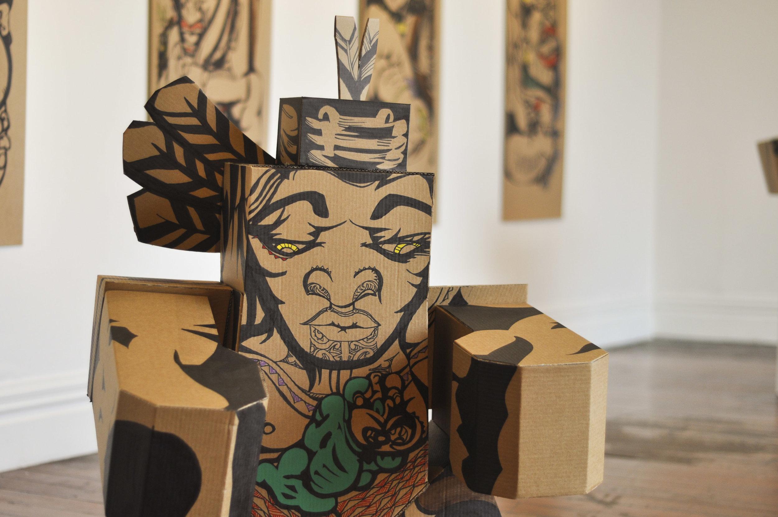 Reweti Arapere  Rakau Matarau  installation view. Image courtesy of the artist and Enjoy Gallery.