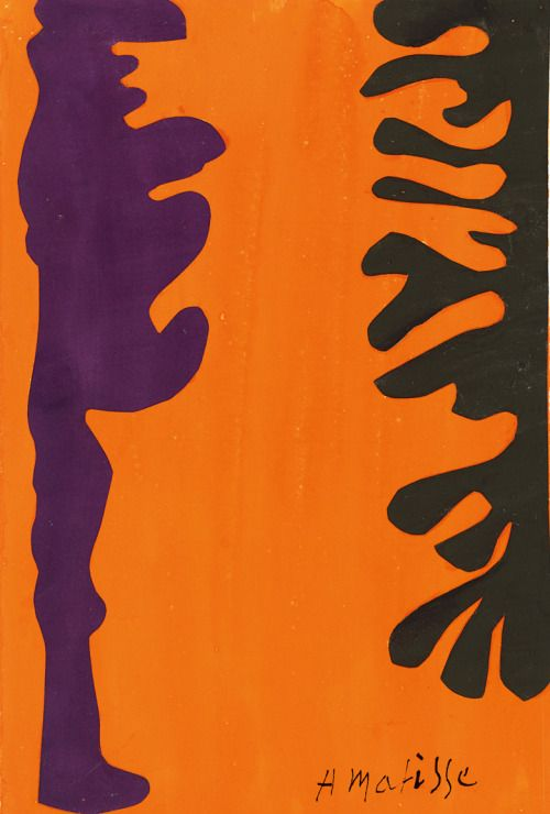 Henri Matisse, Black and Violet Arabesques on an Orange Background c.1951.jpg