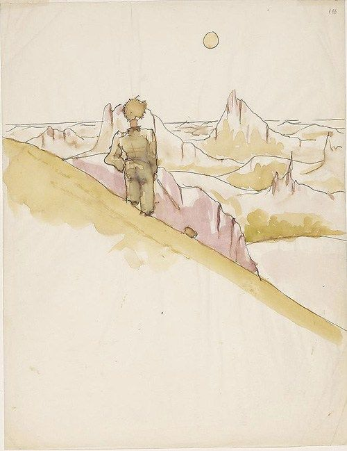 Antoine de Saint-Exupery original watercolor for The Little Prince via Brainpickings.org.jpeg