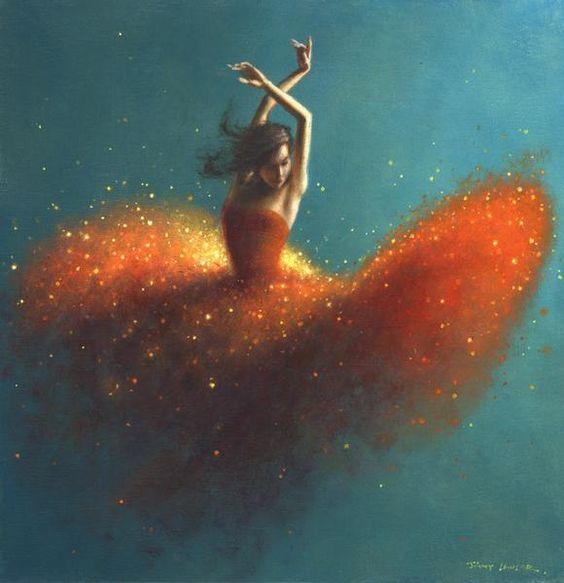 Jimmy Lawlor 'FAcing the Music' orange sparkling dancer on teal.jpg