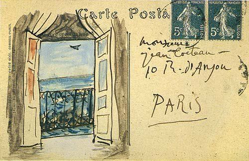 paris postcard from Pablo Picasso to Jean Cocteau in 1919.jpg