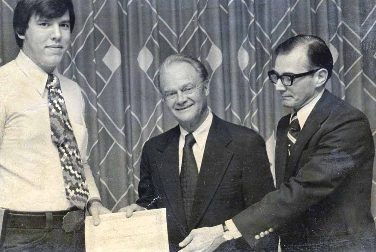 1976 SBVAC Cheif and President Gary Urbanowicz accepts certificate of Appreciation from Mather Hospital, presented by the President and physician director of Mather Hospital