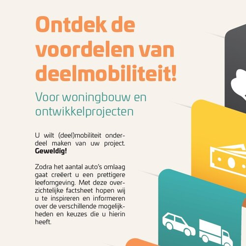 Factsheet shared mobility in housing development   For a mobility operator we developed concept & content for an explainer on advantages and considerations for implementing shared mobility in their project.