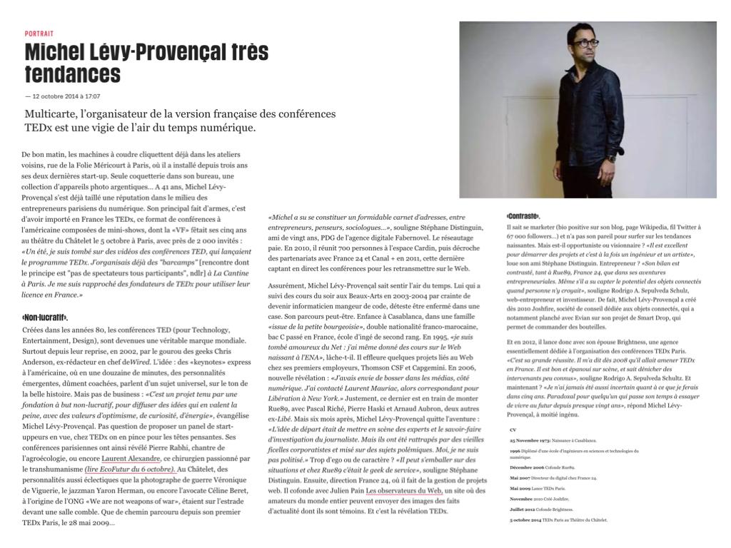 Libération, 12 octobre 2014