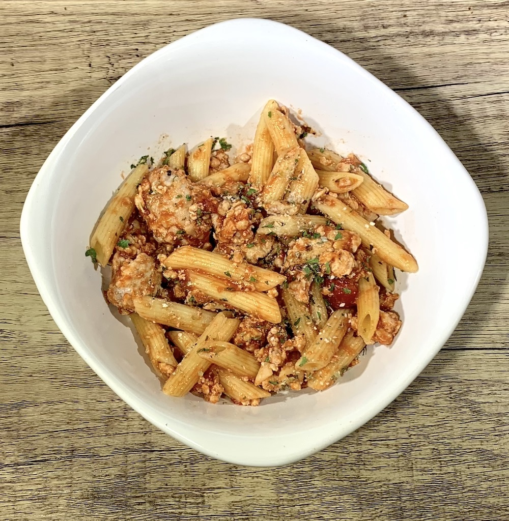 Ground Chicken with Penne Pasta - Calories: 270Fat: 5 gramsCarbs: 30 gramsProtein: 26 gramsContains: wheat