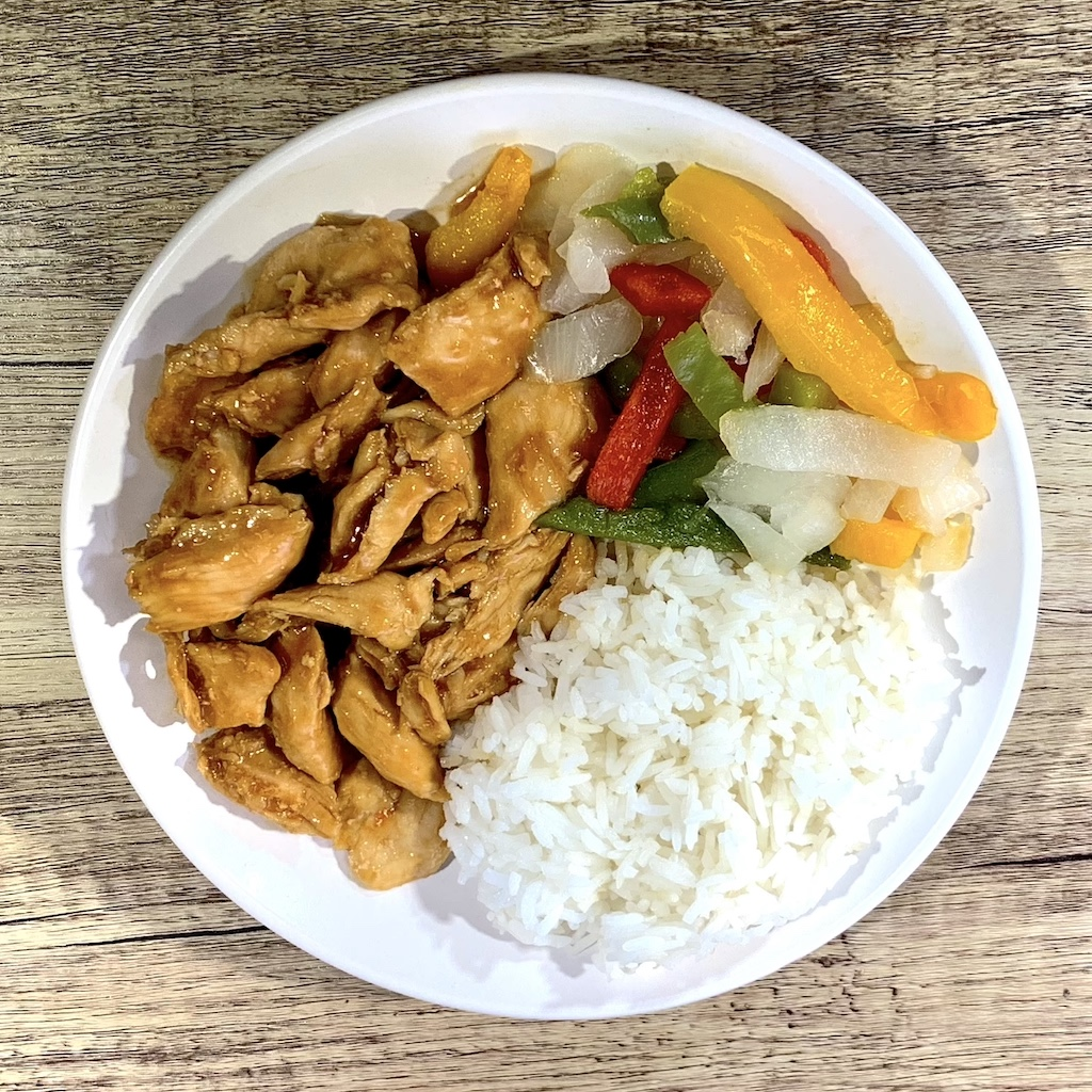 Teriyaki Chicken - Calories: 260 Fat: 4 grams Carbs: 30 gramsProtein: 26 gramsContains: wheat