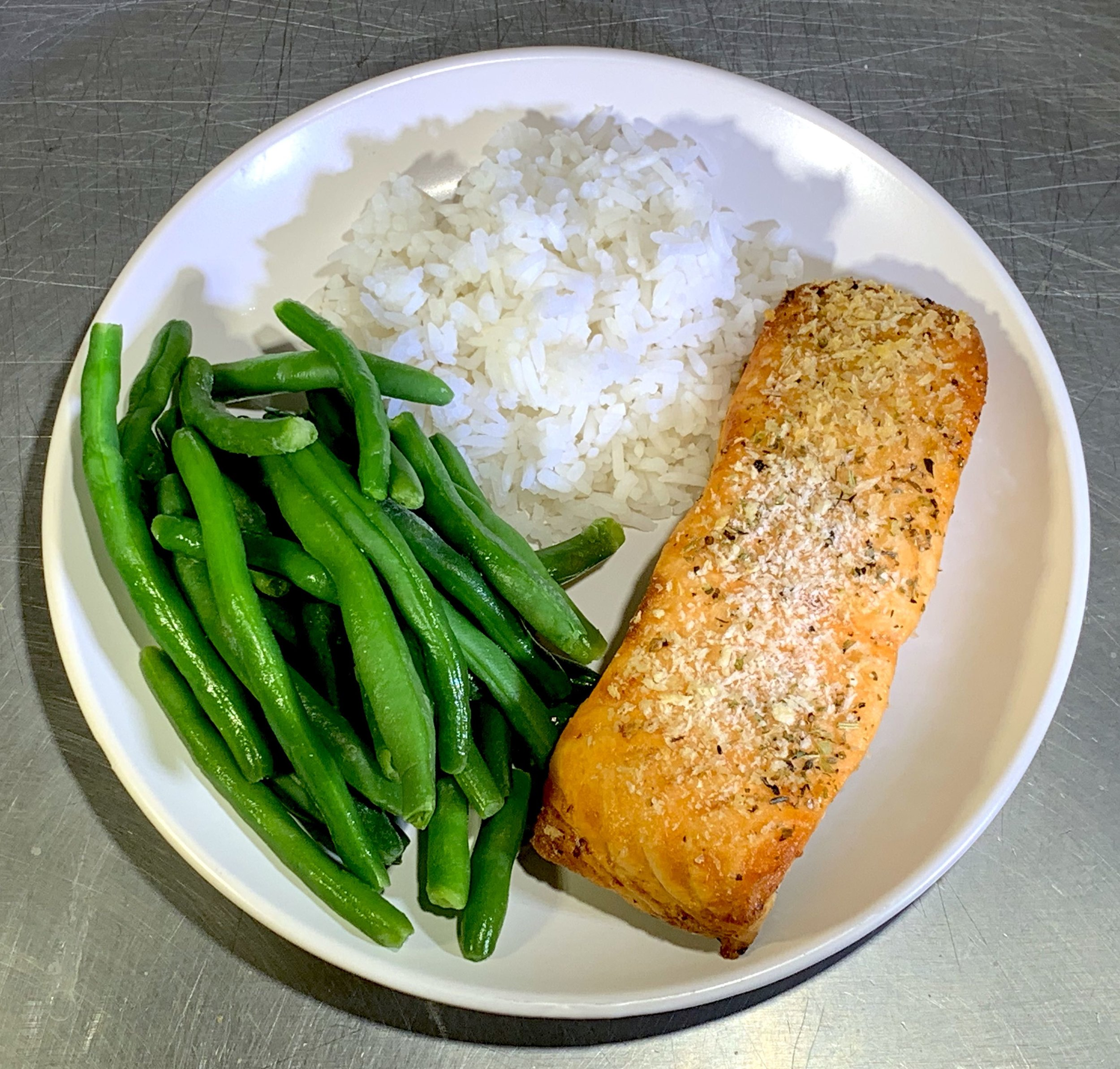 Parmesan and Herb Crusted Salmon - Calories: 428Fat: 16 gramsCarbs: 39 gramsProtein: 32 gramsContains: wheat