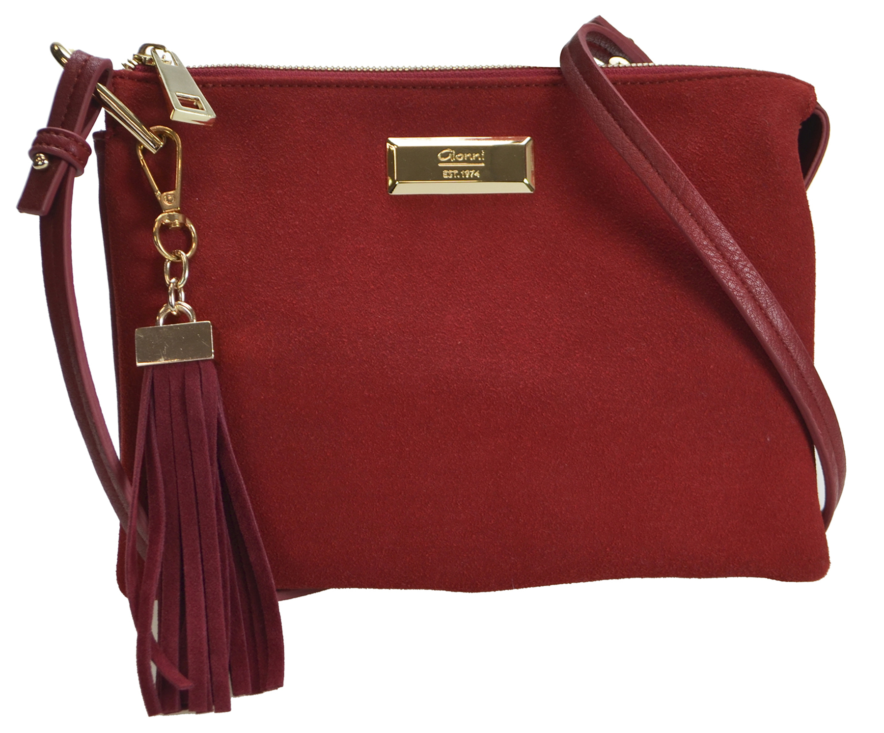 Red top zip double gusset with tassel shoulder bag. €39 £36. Available at Kilkenny, Menary's, Shaws, Debenhams and Pamela Scott..JPG