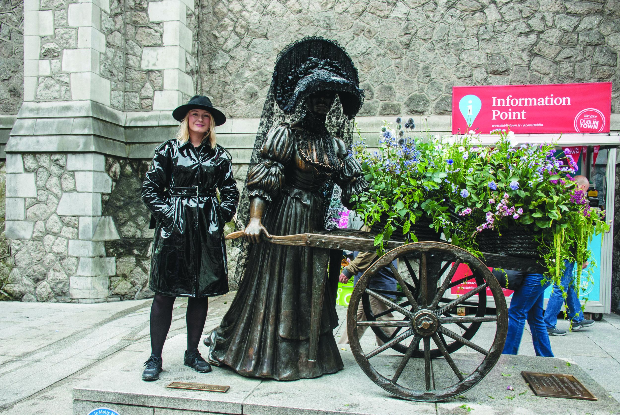 Margaret beside th Molly Malone statue in Dublin city.jpg
