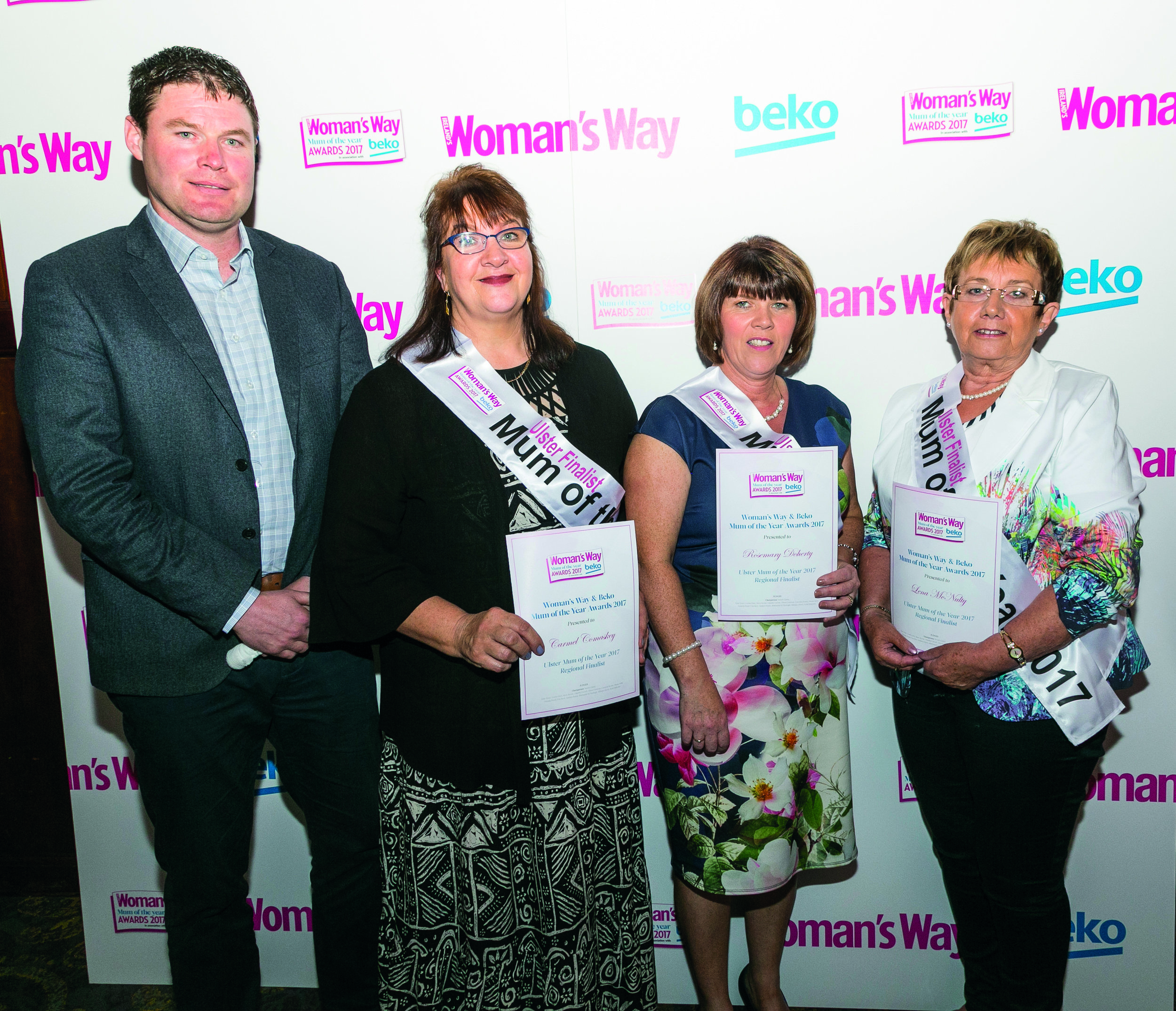 Shane pictured with Carmel Comaskey, Rosemary Doherty and Lena McNulty