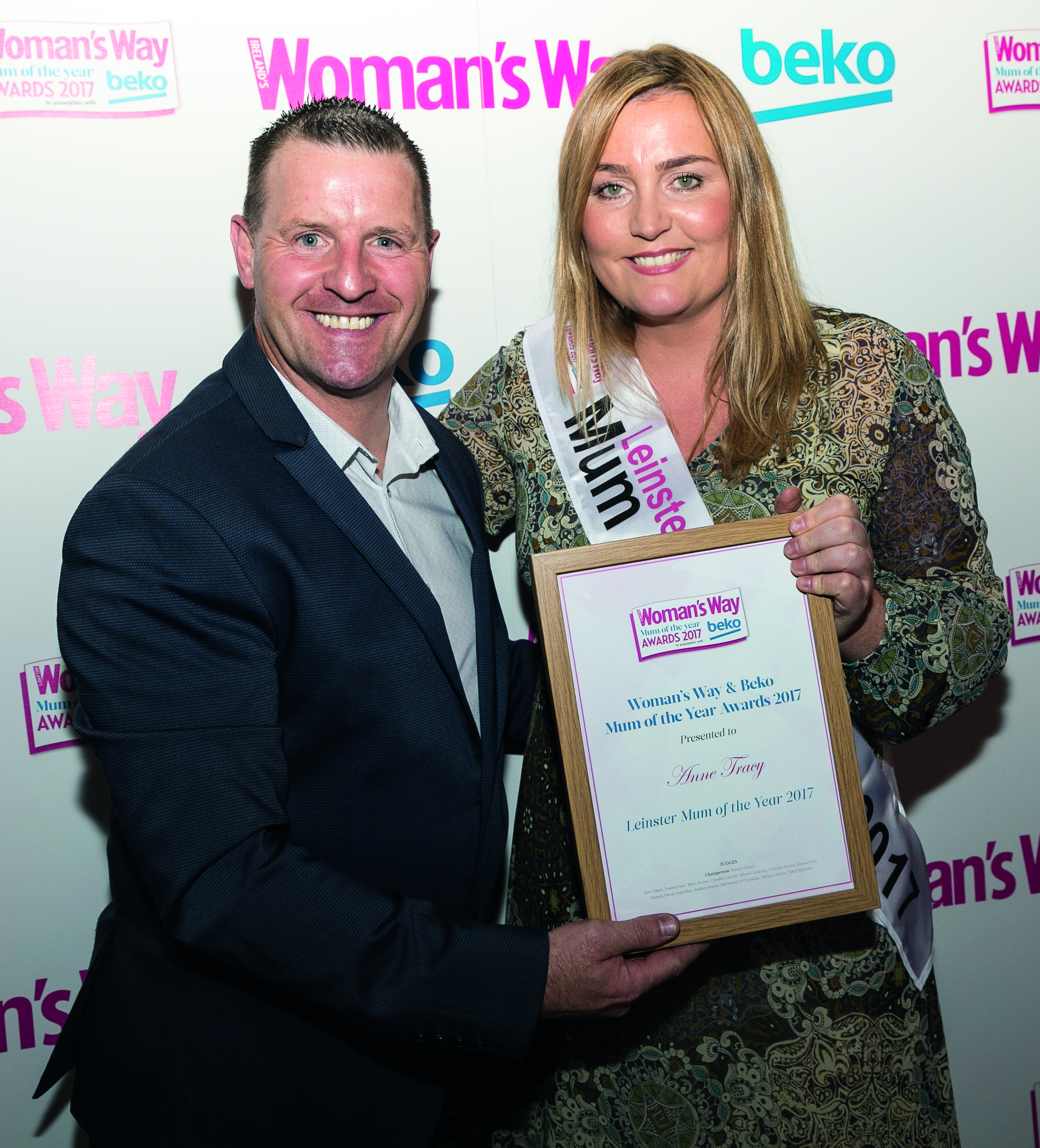 Jonathan Mooney pictured with our Leinster Mum Anne Tracy