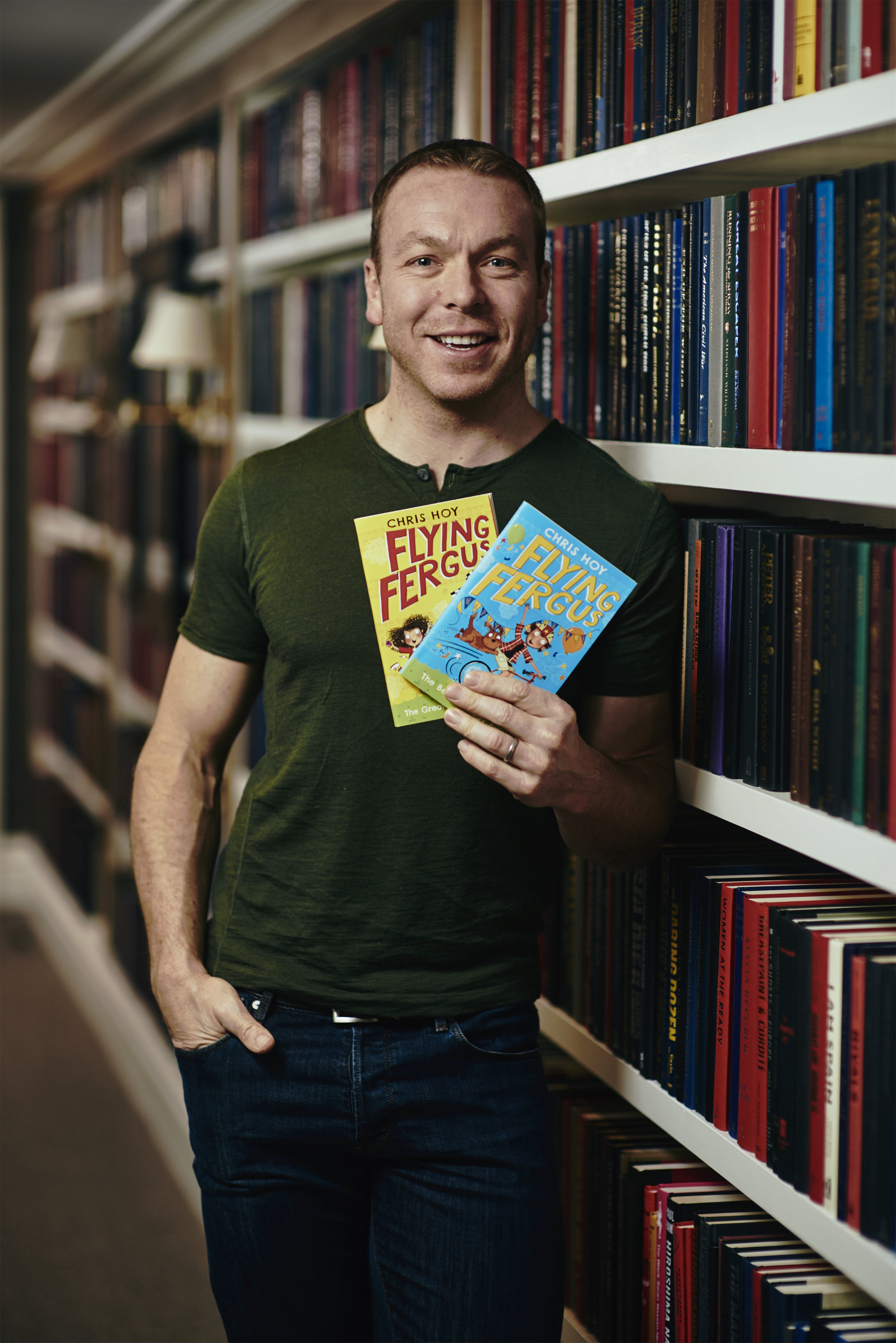 Chris Hoy with his books