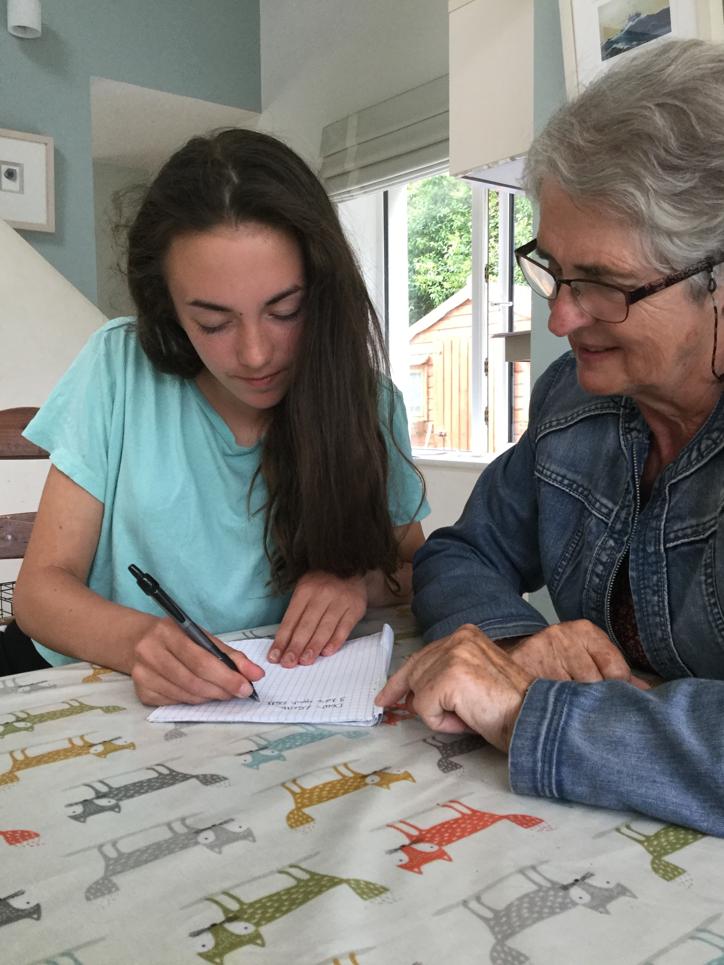 Ann and her granddaughter Aisling writing to Prisela