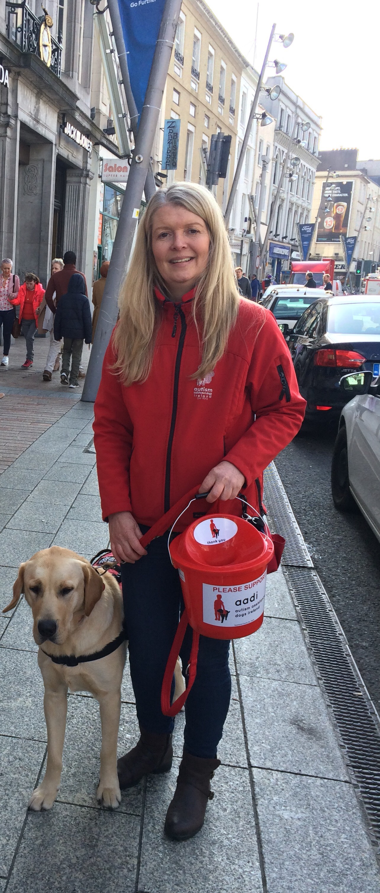 Nuala Geraghty and assistance dog Gandi