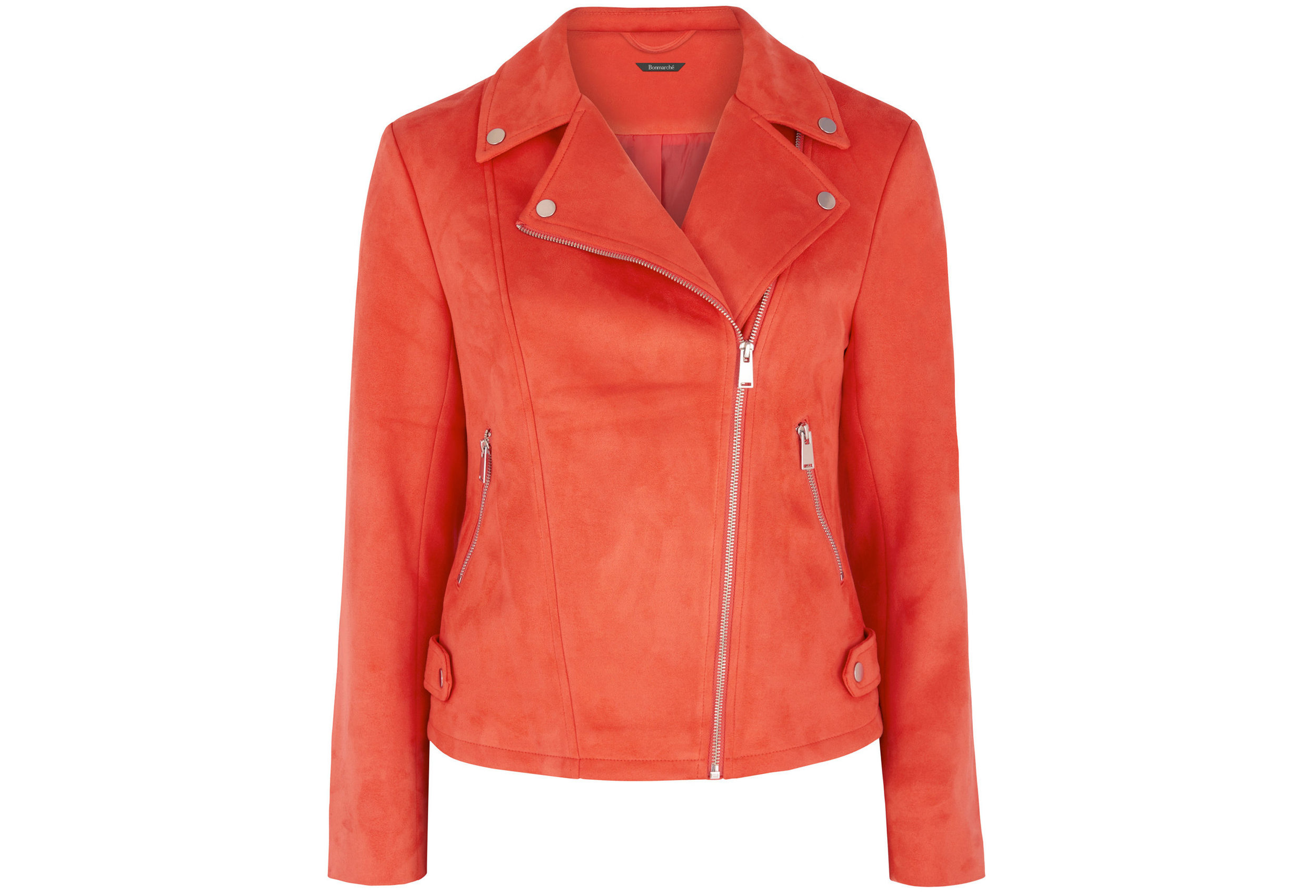 6. Bonmarche Red Suedette Biker Jacket